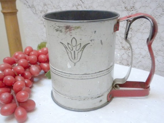 Vintage Flour Sifter Androck Small Flour Sifter White By