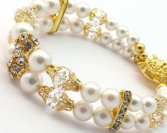 Bridal White Swarovski Pearls Double Strand Bracelet, 22 K Gold Plated Rhinestones, White Gold Bridal Wedding Bridesmaids Jewelry