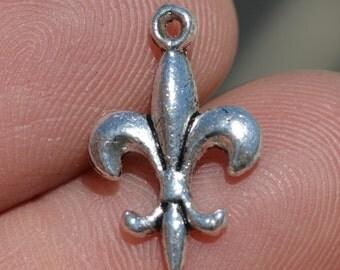 BULK 50  Silver Fleur de lis Charms SC3252