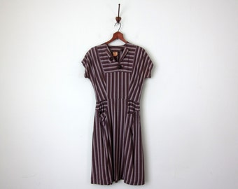 40s dress / charcoal striped mid century pockets fitted waist (xs - s)