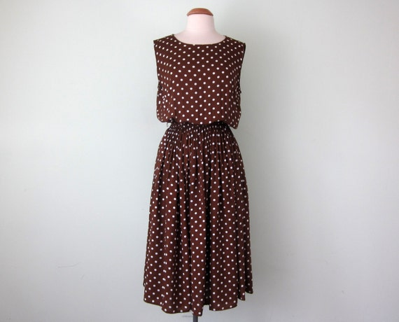 90s Dress Rayon Brown Amp White Polka Dot Fitted Waist