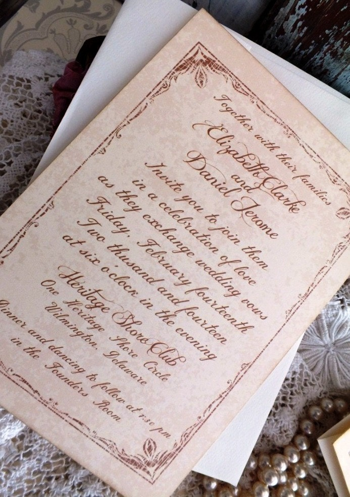 Vintage Wedding Invitation with Tulip Border Handmade