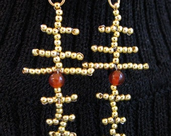 Golden Brass Bead Cross Pattern Earrings with Carnelian, Gold Filled Findings