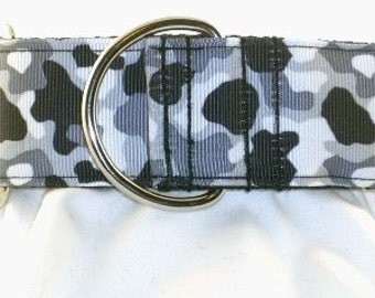 1.5 inch black camo greyhound martingale dog collar, camouflage, white, military, hunting, collar with tag keeper--Camo-Black and White