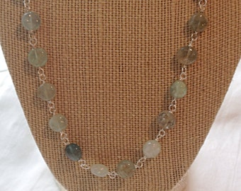 Multi Aquamarine Coin Wire-Wrapped Necklace in Sterling Silver