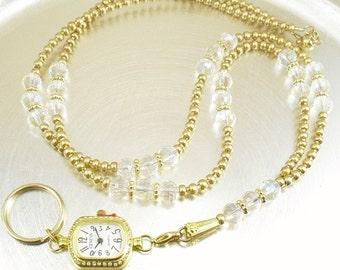 Watch Lanyard, ID Holder, ID Lanyard, Badge Holder - Crystal Aurora Borealis and Metallic Gold Glass ID Lanyard with Detachable Watch Face