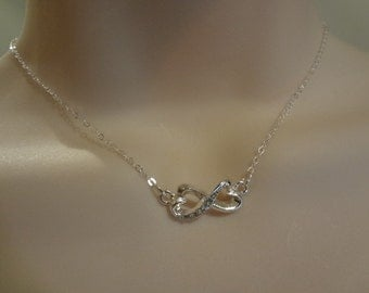 Infinity Necklace Infinity Charm Love Forever Rhinestone Infinity Bridesmaid Gift Forever Necklace