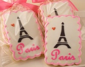 Paris Themed Cookies, Eiffel Tower - 12 Decorated Sugar Cookie Favors