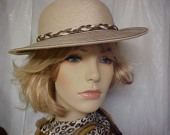 """Sale.  Beige hat with brown and beige braided band - """"Sylvia""""""""label- New York-Paris- fits 21 1/2-22 inches"""