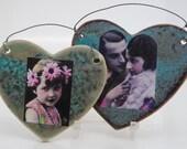 ceramic pottery  tile stoneware clay ornamental home decor set of two heart tiles