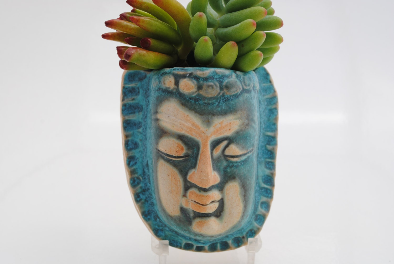 Ceramic Face Planter Garden Art Mask Wall Planter Buddha Head