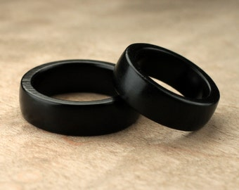 Custom Matching Ebony Wood Rings - 7mm