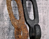 RUSTY INDUSTRIAL...  vintage rusty wrought iron hook or a part of pulley...  architectural elements... Home Decor...  t8  L