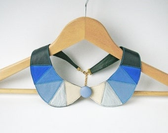 Detachable Collar Blue and White Leather Bib Necklace Statement Leather Necklace Geometric Necklace Button Jewelry