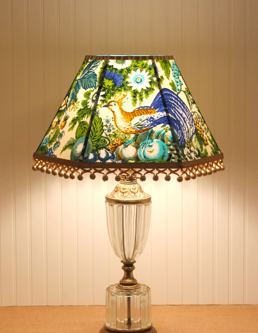 Blue Lamp Shade Vintage Lampshades Blue and Green Bird