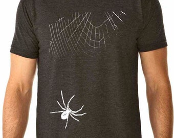 spider shirt - halloween shirt - halloween t shirt - spider costume - creepy halloween - mens tshirt - halloween gifts -SPIDER- crew neck