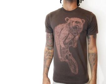 Bear on a Mountain Bike - Mens T Shirt, Unisex Tee, Cotton Tee, Handmade graphic tee, Bicycle shirt, Bike Tee, sizes xs-xxl