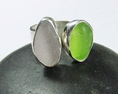 Ready to ship-Lavender and lime green seaglass ring