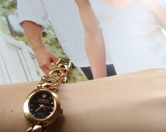 1990s Geneva  Wrist Watch Limited Edition Diamond Chip Dial for Ladies 18k gold plated  On SaLe Now