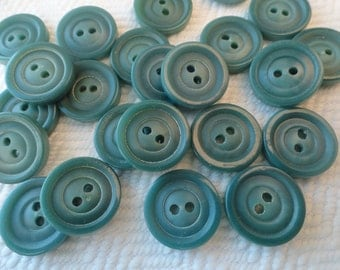 Seafoam Vintage Buttons - 6 Mid Century Plastic 5/8 inch 15mm for Jewelry Beads Sewing Knitting