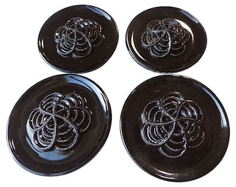 Antique Glass Buttons - 2 Early 1900s Black Vintage Buttons