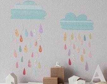 Mini Fabric Wall Decal - Summer Rain (reusable) NO PVC