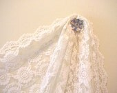 Floral Net Lace Mantilla Spanish Scarf Vintage