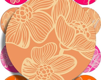 Orange and Pink large circles for pocket mirrors and more digital collage sheet No.1276
