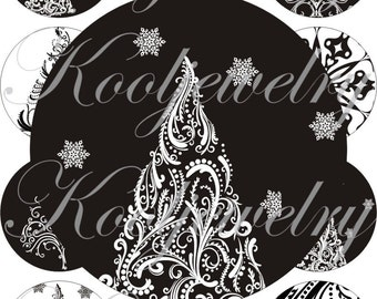Black and white christmas trees for pocket mirrors and more digital collage sheet No.1358