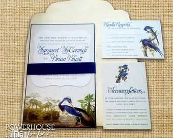 Audubon Inspired Bird Illustration Wedding Invitation