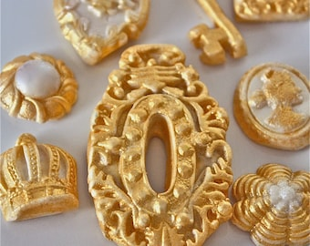 candy buttons-Gold edible buttons and medallions-candy decorations-candy buttons-cupcake decorations-cookie decorations-gold and white