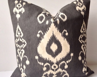 Gray Pillow Decorative Throw Pillow Cover Ikat Pillow Cushion Accent Pillow Grey