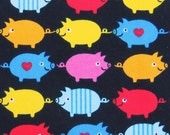 2374C -- Cute Colored Pigs, Kawaii Retro Pigs, Lovely Heart Pigs, Black Color, Twill Fabric