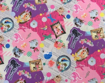 2474B - Cute Animals with Letters Design Fabric in Pink/Purple Combo,Japanese Cotton Fabric, Rabbit, Bird, Deer, Squirrel, Hedgehog, Flower