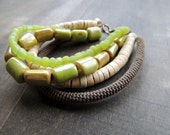 Beaded bracelet with a silk crochet twist in shades green and taupe - zsazsazsu1963
