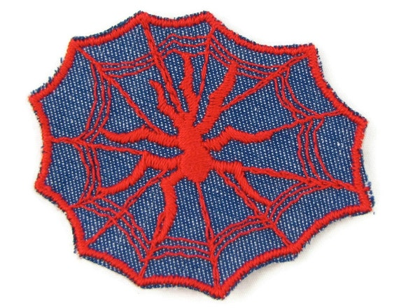 Bug Out - Vintage 1970s Spider Web Embroidered Denim Patch, Iron on or Sew On