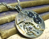 Steampunk Vintage Large Pocket Watch Movement Art Pendant Wedding Necklace - Coco Scapin Designs Chicago