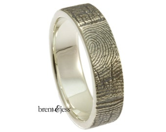Fingerprint RIng, Personalized Custom Handcrafted band Exterior Fingerprint Wrap - Your Fingerprint