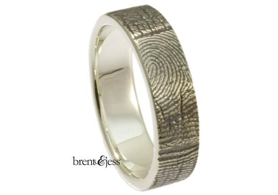 Fingerprint RIng, Personalized Custom Handcrafted band Exterior Fingerprint Wrap - Your Fingerprint