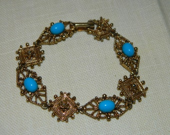 Vintage Florenza Bracelet Gold Tone Turquoise cabochon