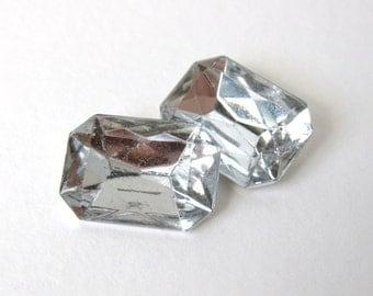 Vintage Glass Rhinestone Jewel Crystal Clear Octagon 18x13mm rhs0471 (2)