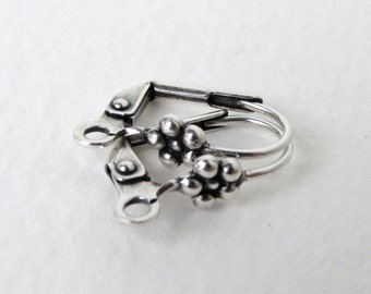 Antiqued Silver Ox Earwires Vintage Style Flower Fancy Leverback 15mm erw0123 (10)