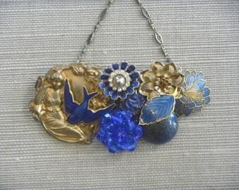 Sapphire necklace Blue Bird Vintage brooch Collage Gold Art Nouveau Shabby Chic OOAK Cobalt  Goddess Guilloche Enamel Leaf