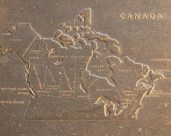 Aluminum Tray with a Canadian Map Stamped into Bottom