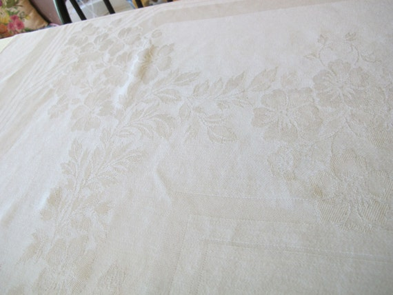Items similar to cotton rayon damask tablecloth vintage for White cotton table cloth