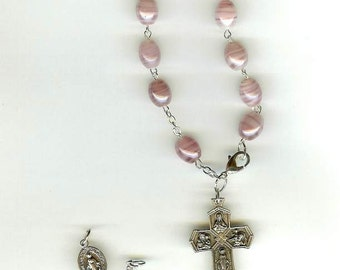 Handmade Rosary Bracelet in Plum Luster Beads w/Your Choice of Medal