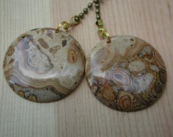 Fan Dangle / Map Jasper on Brass Light Pulls Switch Polished Cut Clay Putty Beige Henna Brown