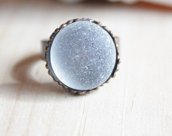 Eco Friendly White Sea Glass Antique style Brass Bezel Adjustable Ring  07