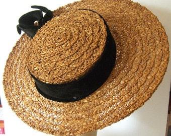 Vintage G. Fox & Co. Widebrim Summer Straw Womens Hat