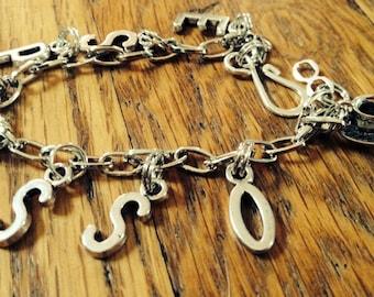 espresso lovers silver charm bracelet